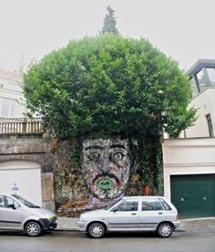 Not so much architecture, but what a brilliant street art idea! Tree hair!