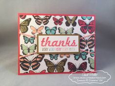 Stampin' Up Sheer Perfection Vellum Paper Stack featuring Butterfly Thank You Fabulous Four, Vellum Paper, Quick Cards, Butterfly Cards, Thank You Cards, Stampin Up, Card Making, Thankful, Display
