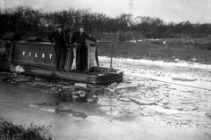 "Caption: ""1933: An ice-breaker at work on the Grand Union Canal at Slough, Buckinghamshire"" #London #canal #Boat (PILOT was most likely an ex-Blisworth tunnel tug. The photo is interesting in that it looks like the engine is running, although the boat could well be moving backwards - therefore potentially being towed itself)"