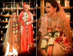 A soft pink lehenga with gold thread work for Real Bride Tanya of WeddingSutra.