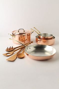 MUST have Copper pots and pan! I'm a little obsessed with all things copper in a kitchen.