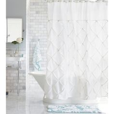 Threshold™ Shower Curtain - White  This is what we can use as a compromise - not too many ruffles for the husband.