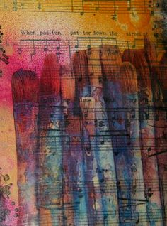 Mixed Media Techinique Gel Medium Watercolor Inks Over Sheet Music