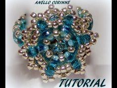 """▶ TUTORIAL ANELLO """"CORINNE"""" con twin ,rocailles, cristalli e chaton Maxima Preciosa - YouTube"""