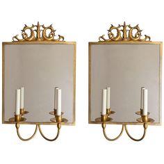 gilt over pewter mirror sconces by Gustav Bergstrom, Sweden, circa 1920