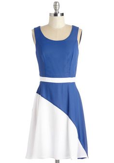 Sailing Symposium Dress - Blue, White, Solid, Casual, Colorblocking, A-line, Sleeveless, Woven, Good, Nautical