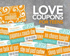 Love Coupons FOR TEENS  Printable Instant by Studio120Underground