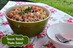 Mommy's Kitchen - Home Cooking & Family Friendly Recipes: Bacon Ranch Pasta Salad {The Perfect Picnic Salad} #bbq #cookout #salad #pasta #summer