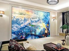 3d room wall sticker A fairy tale Peter pan of oil painting photo 3d wall mural wallpaper