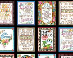 MOTTOS To LIVE BY multicolor flowers on black by CountryStittches