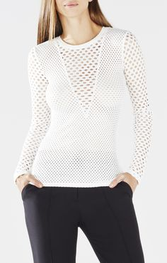 BCBGMAXAZRIA Elain Long-Sleeve Lace Top | BCBG.com