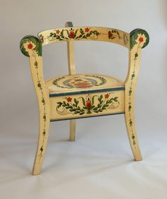 One of a pair of three-legged chairs painted by Per Lysne of Stoughton for the Cottage at Ten Chimneys, Genesee Depot, Wisconsin, ca. 1933