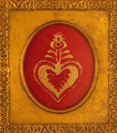 Folk Heart Reverse Glass Acrylic Painting by magpiemiscellany, $50.00