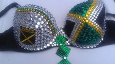 Rhinestone Bra Green black and gold Jamaican by Smokinghotdivas, $65.00