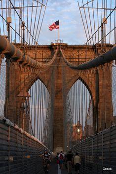 NYC. The Brooklyn Bridge at dusk, looking toward Brooklyn
