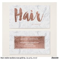 Hair stylist modern rose gold typography marble business card hair stylist modern rose gold typography marble business card reheart Image collections