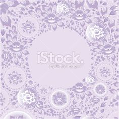 Circle greeting card with violet flowers. Vector Royalty Free Stock Vector Art Illustration
