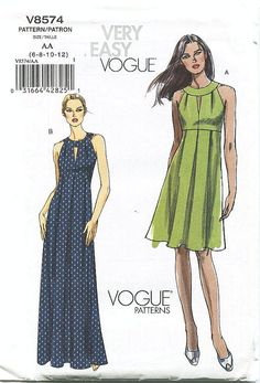 Vogue Dress Pattern V8574 - Misses' Dresses in Two Lengths - SZ 6/8/10/12