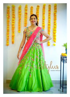 In a bridal look in a gorgeous multi color floral design lehenga and jewelry Half Saree Designs, Saree Blouse Patterns, Fancy Blouse Designs, Lehenga Designs, Saree Blouse Designs, Sari Blouse, Dress Patterns, Half Saree Lehenga, Kids Lehenga