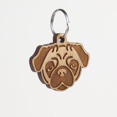 Pug Keychain Pug Dog Carved Wood Key Ring Pug by LadyMaggies Cnc Laser, Laser Art, Wooden Keychain, Dog Keychain, Face Cut Out, Wood Burn Designs, Laser Cutter Projects, Cut Animals, Birch Ply