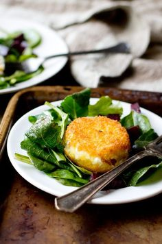 Fried Goat Cheese with Beets and Greens - THE GOURMET GOURMAND