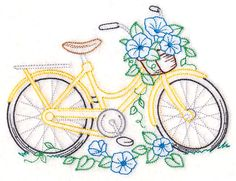 Bike of Blooms - Morning Glories design (M13083) from www.Emblibrary.com
