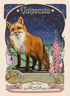 Fox Constellation Print of Original Art Nouveau Style Illustration by Vincent Desjardins, $17.00