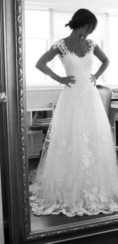 Ethereal Lace-Overlay Gown with Embellished Sleeves
