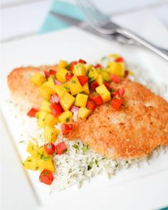 Coconut Crusted Whitefish - I'm not crazy about fish, but this recipe is perfect. Mango salsa does a really nice job to this white fish and I'm happy to say, I'm gonna make this more often. For fish lovers, I think this is a great recipe. Try it and tell me what you think.
