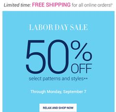 50% off select styles and free shipping? Yes Please!