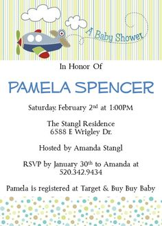 Printable Baby Shower Invitations Airplane by PamelasDigitalPrints, $10.00 Airplane Baby, Baby Shower Invitation