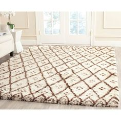 Safavieh Handmade Casablanca Moroccan Flokati Shag Cream/ Brown Wool Rug - x (Ivory/Dark Brown - x (New Zealand Wool, Geometric) Casablanca, Flokati Rugs, Gold Bed, Moroccan Area Rug, Types Of Rugs, Online Home Decor Stores, Online Shopping, Cool Rugs, Small Rugs