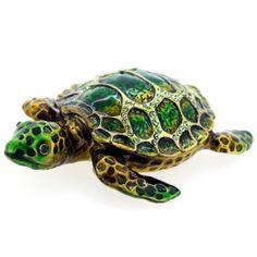 Emerald Green Sea Turtle Swarovski Crystal šperky Trinket Box