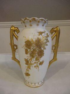 VTG White Vase Gold Gilt Leaf Flowers Dragon Panther Royal Worcester Signed EM
