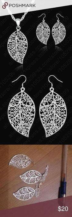 Sterling silver jewelry set Size: length 18 inches Material: 925 sterling silver Quantities: 1 PC Pendant Necklace and 1 pair earring Jewelry #SilverNiceJewelry