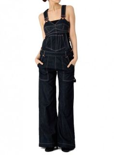 overalls! like this but cut the legs of so they are shorts =D