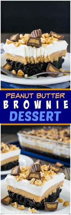 Peanut Butter Brownie Dessert - creamy layers of peanut butter & pudding make th.Peanut Butter Brownie Dessert - creamy layers of peanut butter & pudding make this brownie a favorite treat. Great dessert recipe for parties & picnics! Brownie Desserts, Oreo Dessert, Mini Desserts, Peanut Butter Desserts, Peanut Butter Brownies, Great Desserts, Brownie Recipes, Dessert Bars, Chocolate Desserts