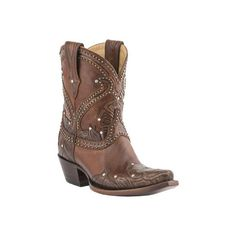 Lucchese Since 1883 Women's Lucchese Since 1883 M4811.S54 Spring Snip... ($235) ❤ liked on Polyvore featuring shoes, boots, ankle booties, tan tooled petal, floral booties, tan ankle booties, ankle boots, cowboy booties and chukka boots