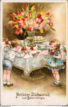 Petersen children w tulips postcard Vintage Easter, Vintage Valentines, Valentine Day Cards, Vintage Pictures, Vintage Images, Vintage Cards, Vintage Postcards, Sweet Drawings, Valentine's Day Printables