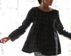 Linen plaid women loose gathered jacket shirt, japanese style top. Sizes S, M, L. Made to order.