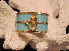 Gold and Turquoise Mermaid Nautical Bangle beach jewelry summer preppy bridesmaids gifs by savannahjacks, $45.00