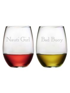 Funny! Nauti Girl/Bad Buoy Stemless Glasses (Set of 2) by Susquehanna