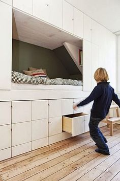 Alcove bed. Not sure I'd like such a small space, but the storage is awesome.