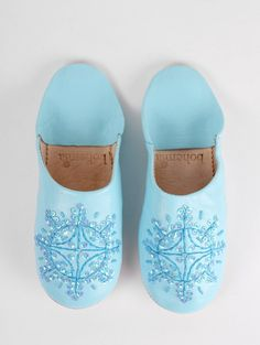 Moroccan Babouche Sequin Slippers, Sky Blue #category:womens #colour:blue #group:slippers