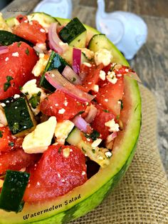 Watermelon Salad ~ Sweet and savory combine with fresh watermelon, red onion, cucumber, feta and mint tossed in a vinaigrette ~ The Complete Savorist