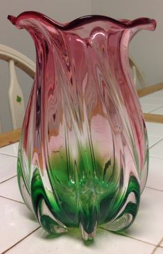 Vintage Murano Italian Glass Sommerso Flaired Top Multicolored Vase