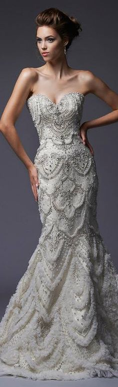 strapless sweetheart neckline beaded jewelry crystals fit-to-flare mermaid wedding dress #bridal #weddingdress