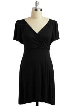 simple, comfortable black dress. i love wrap tops.