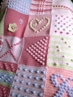 Project Gallery for 200 Crochet Blocks pattern by Jan Eaton ~ Pink lilac and cream bobbly squares
