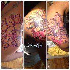 Lily shoulder tattoo flowers bubbles swirls ink tat